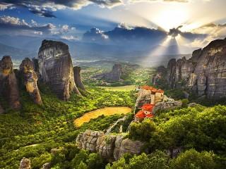 Собирать пазл Рассвет в Греции онлайн