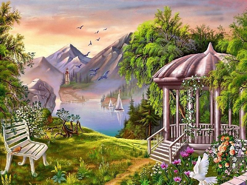 Пазл Собирать пазлы онлайн - Райский уголок