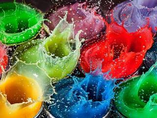 Собирать пазл Разноцветные брызги онлайн