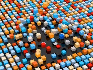 Собирать пазл Разноцветные кубики онлайн