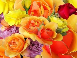Собирать пазл Разноцветные розы онлайн