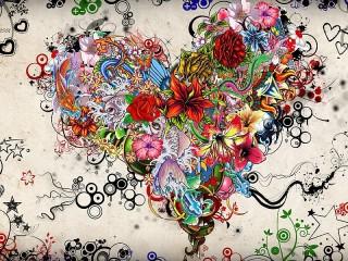 Собирать пазл Разноцветное сердце онлайн