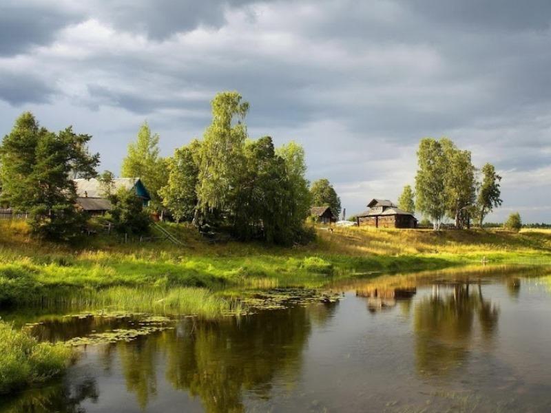 Пазл Собирать пазлы онлайн - Речка в деревне