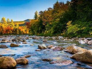 Собирать пазл Река осенью онлайн