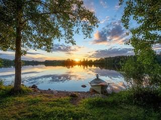 Собирать пазл Река в Финляндии онлайн