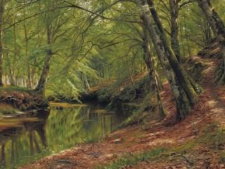 Собирать пазл Река в лесу онлайн