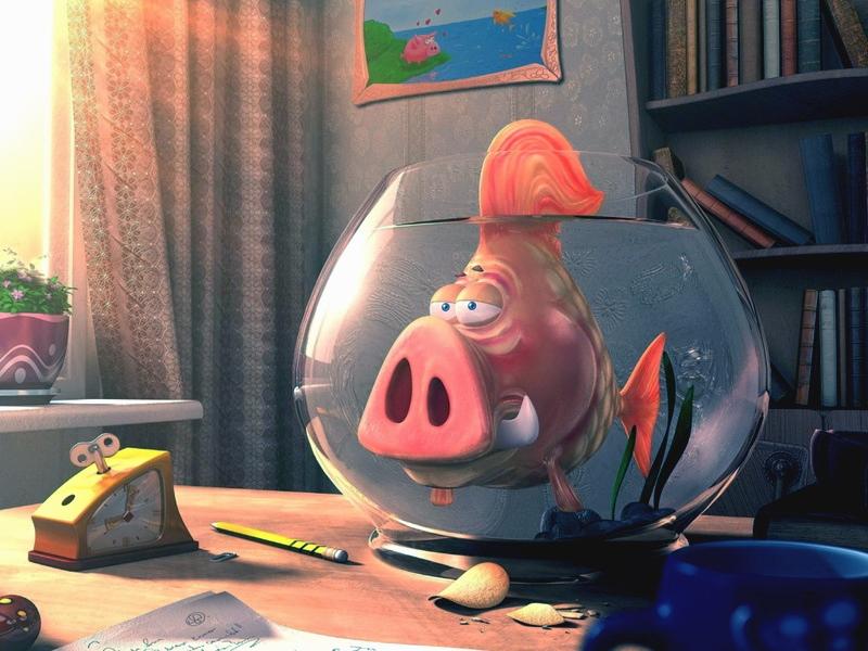 Пазл Собирать пазлы онлайн - Рыба-свин
