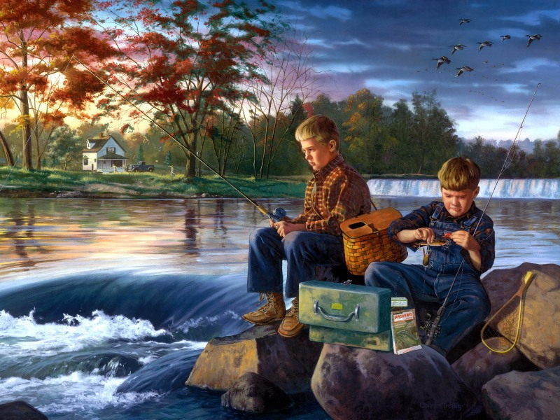 Пазл Собирать пазлы онлайн - Маленькие рыбаки