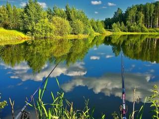 Собирать пазл Рыбалка на озере онлайн