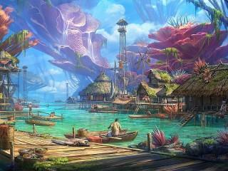 Собирать пазл Рыбацкое поселение онлайн