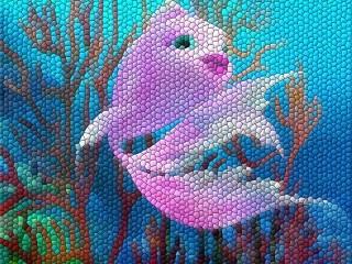 Собирать пазл Рыбка в мозаике онлайн