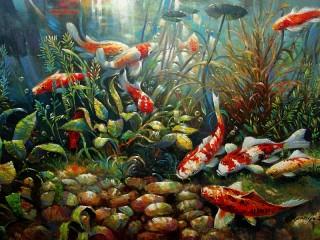 Собирать пазл Рыбки в аквариуме онлайн