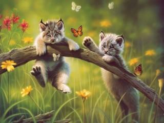 Собирать пазл Рысята и бабочки онлайн