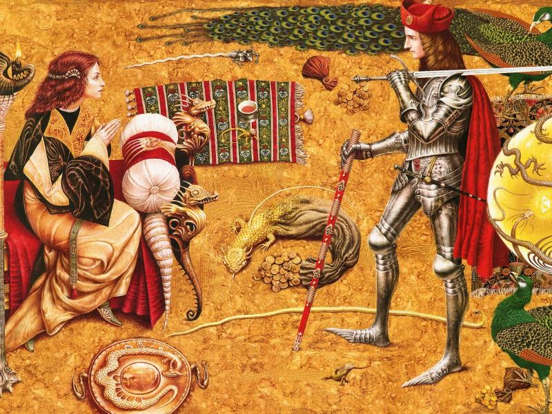 Пазл Собирать пазлы онлайн - Рыцарь и Дама