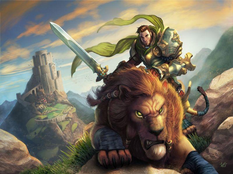 Пазл Собирать пазлы онлайн - Рыцарь на льве