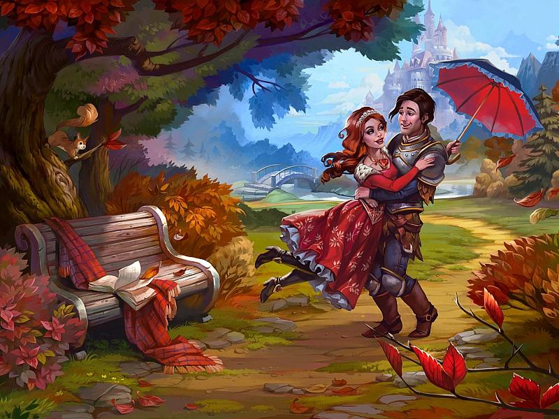 Пазл Собирать пазлы онлайн - Рыцарь и принцесса