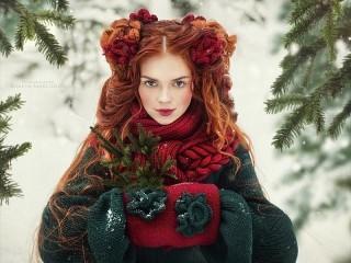 Собирать пазл Рыжая девушка онлайн