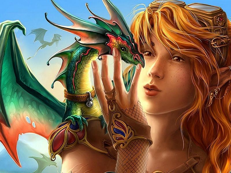 Пазл Собирать пазлы онлайн - Рыжая с драконом