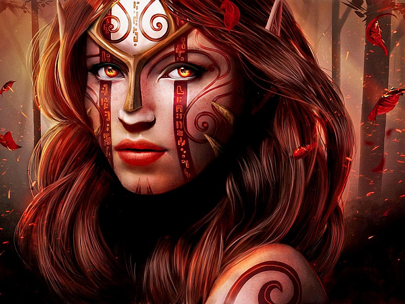 Пазл Собирать пазлы онлайн - Рыжеволосая девушка