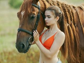 Собирать пазл Рыжий конь и девушка онлайн