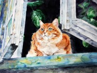 Собирать пазл Рыжий кот на окне онлайн