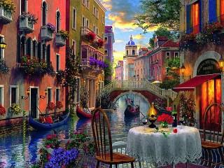 Собирать пазл Романтический вечер в Венеции онлайн