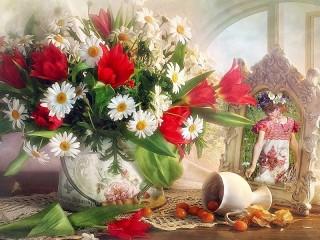 Собирать пазл Ромашки и тюльпаны онлайн