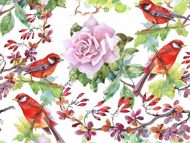 Пазл Собирать пазлы онлайн - Роза и птицы