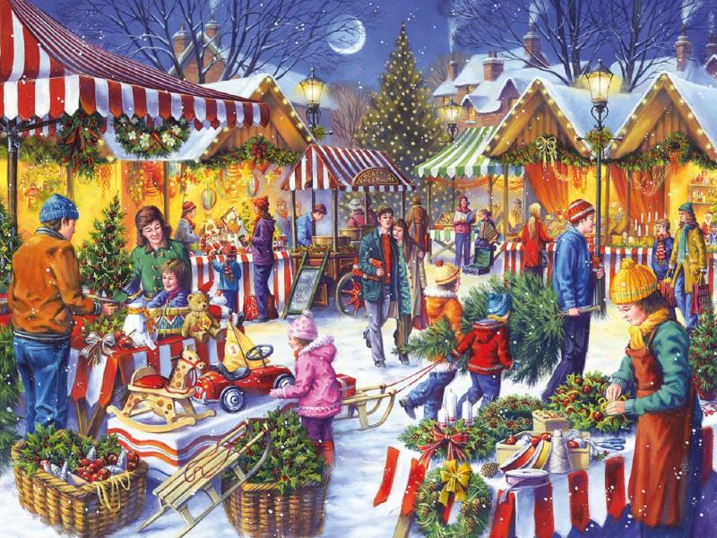 Пазл Собирать пазлы онлайн - Рождественский базар