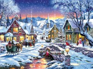 Собирать пазл Рождественский вечер онлайн
