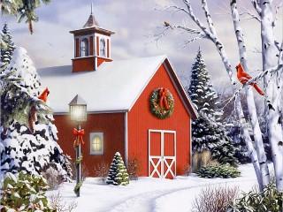 Собирать пазл Рождественский домик онлайн