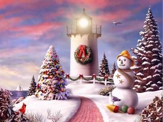 Собирать пазл Рождественский маяк онлайн