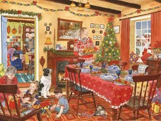 Собирать пазл Рождественский стол онлайн