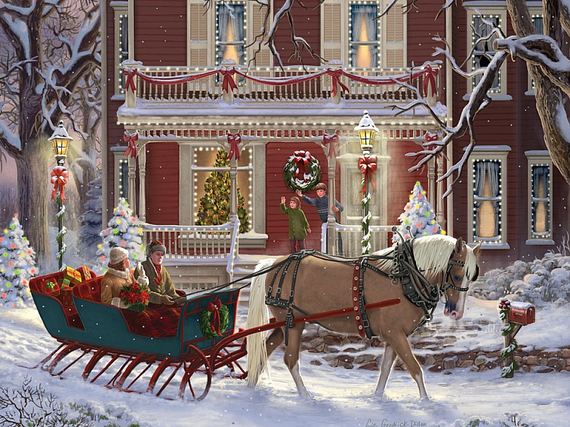 Пазл Собирать пазлы онлайн - Рождественский вечер