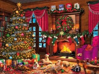 Собирать пазл Ночь перед Рождеством  онлайн