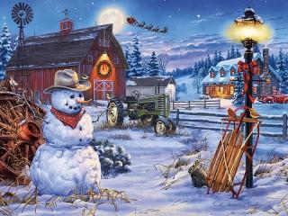 Собирать пазл Рождество на ферме онлайн