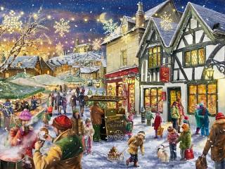 Собирать пазл Рождество в деревне онлайн