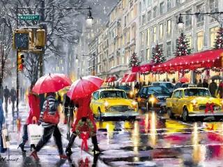 Собирать пазл Рождество в Нью Йорке онлайн