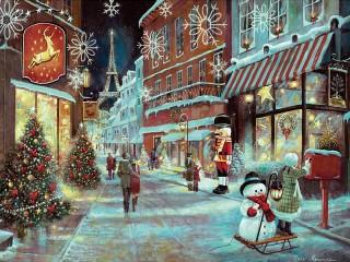 Собирать пазл Рождество в Париже онлайн