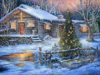 Собирать пазл Рождество за городом онлайн