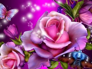 Собирать пазл Розы и бабочки 1 онлайн