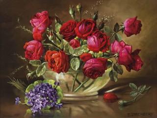 Собирать пазл Розы и фиалки онлайн