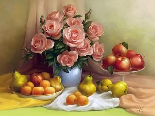 Собирать пазл Розы и фрукты онлайн