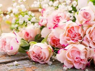 Собирать пазл Розы и гипсофила онлайн
