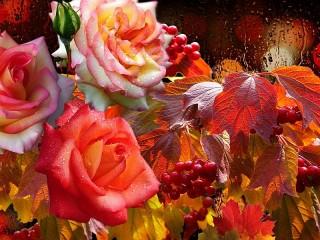 Собирать пазл Розы и калина онлайн