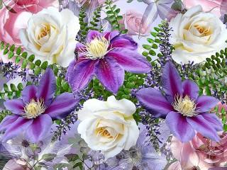 Собирать пазл Розы и клематисы онлайн