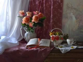 Собирать пазл Розы и книга онлайн