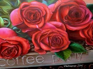 Собирать пазл Розы и кофе онлайн