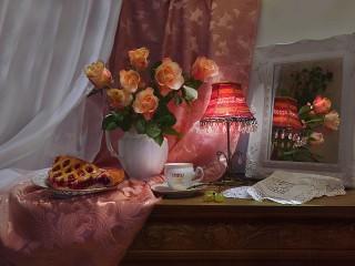 Собирать пазл Розы и лампа онлайн