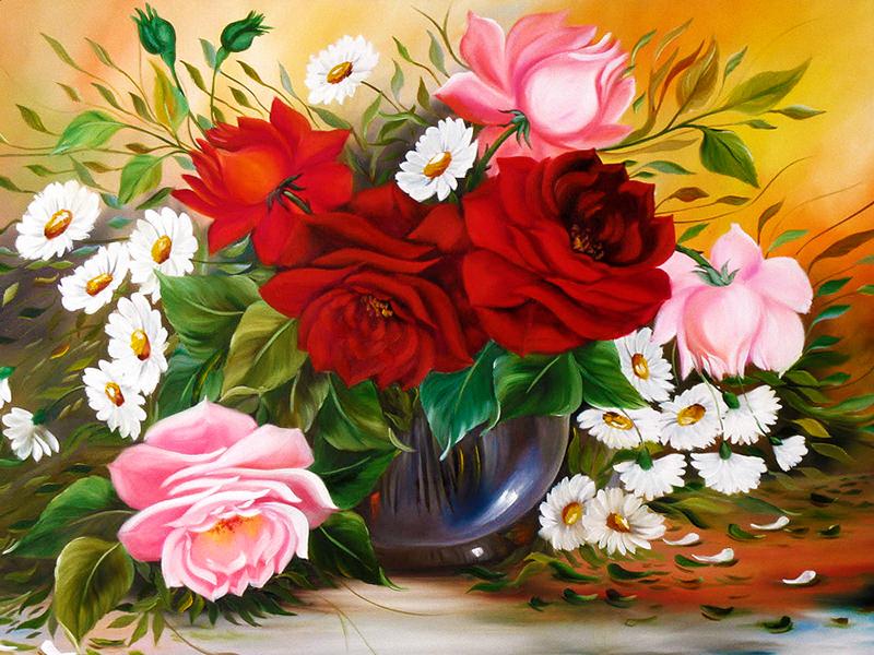 Пазл Собирать пазлы онлайн - Розы и ромашки